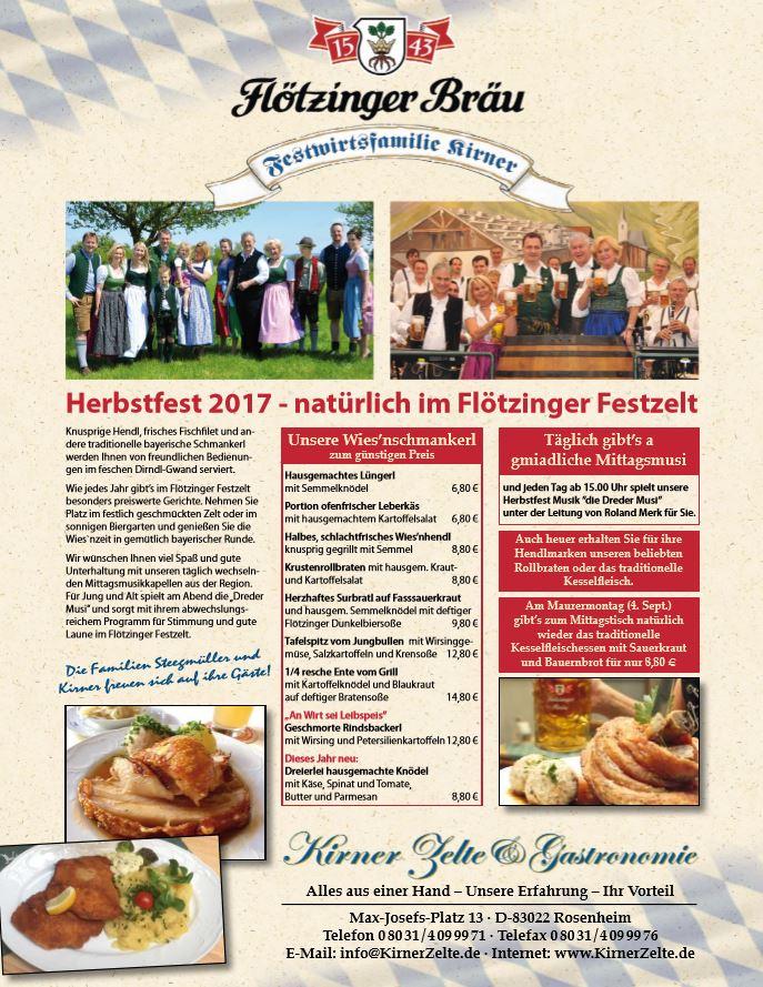 Herbstfest 2017 - natürlich im Flötzinger Festzelt